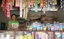 Lhincha at her petty shop.