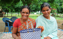 Revathi (right) and Thangammal (left) holding their end product