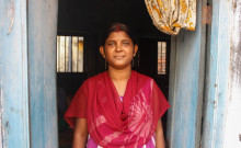 Pushpendu's mother Lakshmi in her house