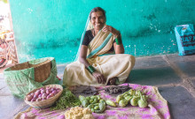 Sumitra selling vegetables