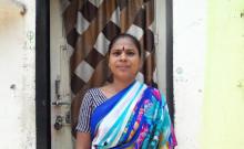 Avanti Devi in front of her shanty in Sakinaka
