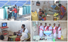 L-R: Humara grid, women at work in paddy processing, T.V at home, women with rice huller