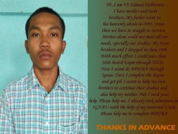 VS Edman Needs your Help to Complete His Education