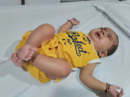 5-month-old Ridhan with a severe heart disease needs a heart surgery