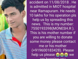 Help Deepak For His Operation Met With An Accident
