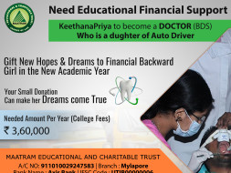 Daughter of AutoRicksaw Ms Keerthana wants to become a Dentist