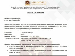 Need fund to represent INDIA in AWMUN III Conference.