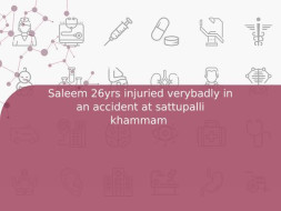 Saleem 26yrs injuried verybadly in an accident at sattupalli khammam