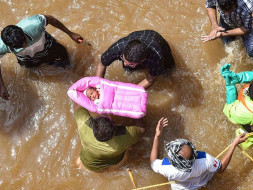 Providing medical assistance to flooded areas of Hyderabad