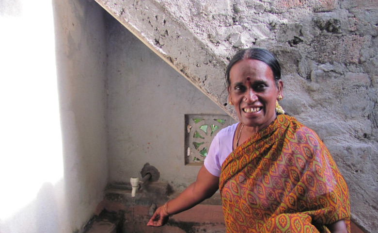 With a piped water connection that leads to her home, Valarmathi gets more out of her day