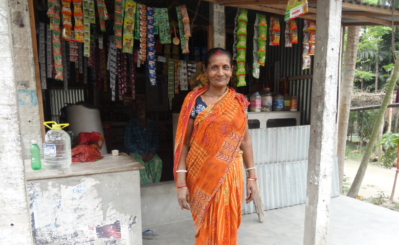 Mamata outside her shop