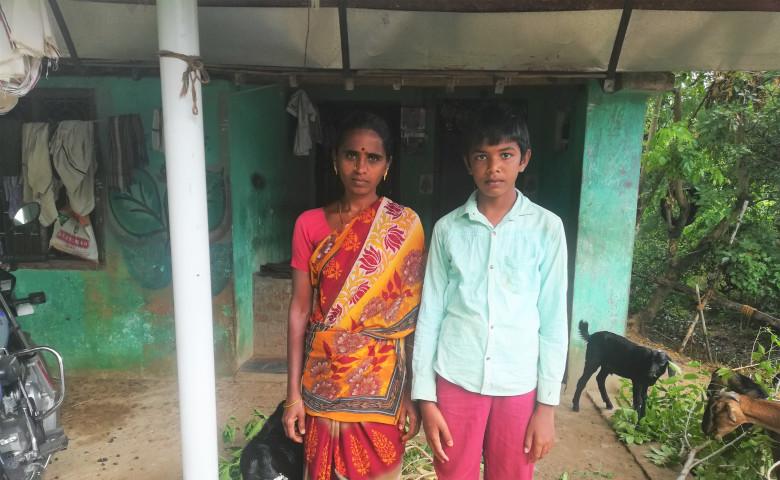 Bhuvaneshwari,her son and goats