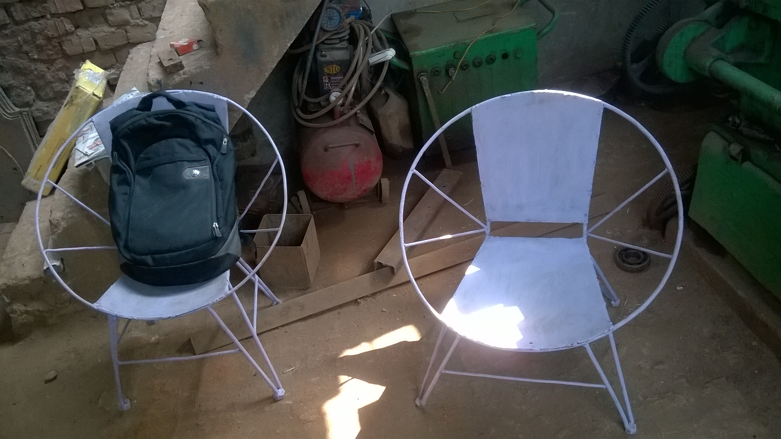 Chairs in Maa Vaishno Engineering Workshop built by Ranjeet