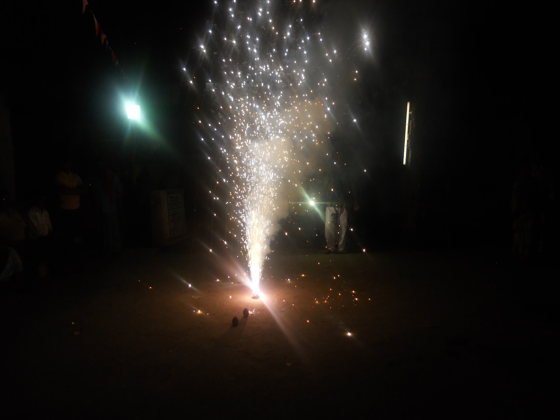 The puja concluded with the mesmerising sparkling of fireworks lighting up the night of an otherwise dark Ullon.