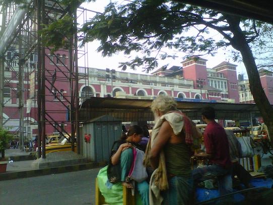 Kolkata's Howrah station, just before I depart by taxi to Dakshin Barasat.