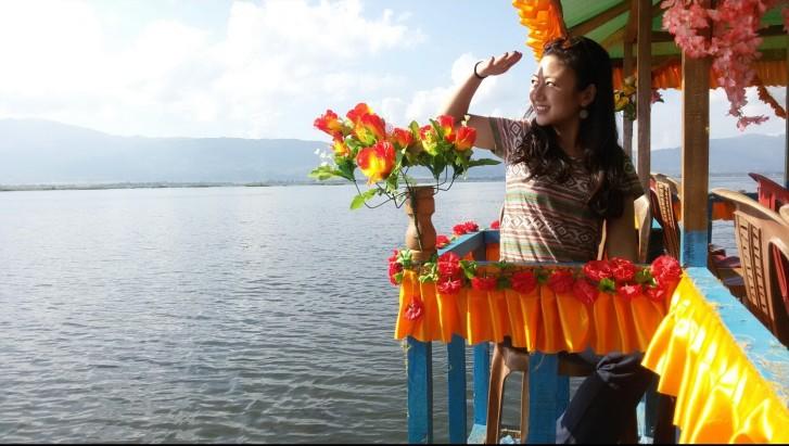 My filmy Bollywood pose at Loktak lake. haha!