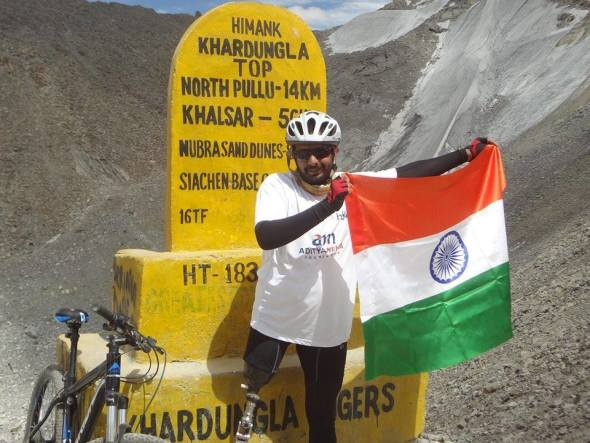 Aditya completed his ride to Khardungla, the world's highest motorable pass, on Independence Day 2014 . He is crowdfunding to buy prostheses and equipment for fellow para-athletes.