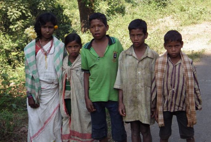 Tribal children- The girl on the extreme left is in typical tribal dress