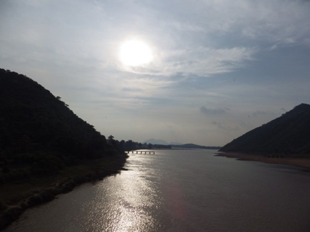 Scenic view of a river flowing through Kalahandi district in Orissa