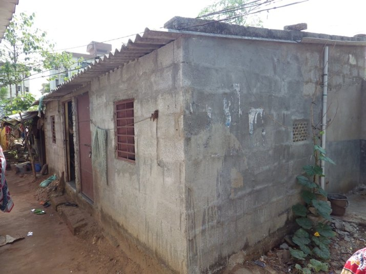 A typical house with bathroom and toilet attached to it that has been built by the Mahasangh