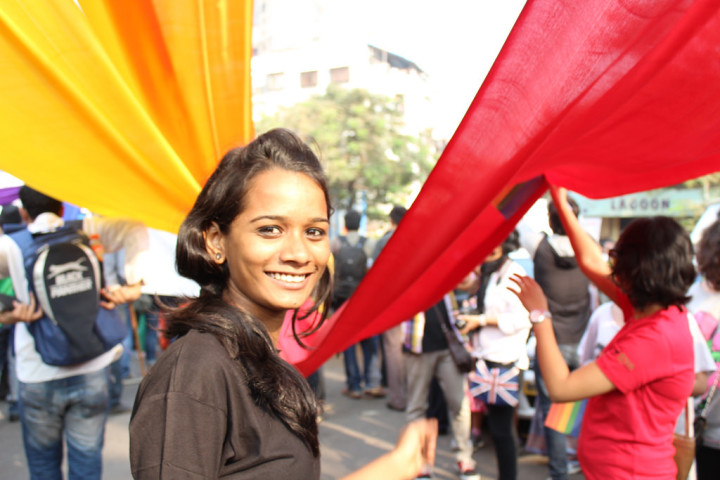 At a protest, 2014: