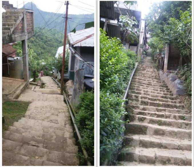 Stairway to losing weight. Photo on the left: Downward view from what I thought was halfway up the stairs. Photo on the right: Definitely not halfway up the stairs.