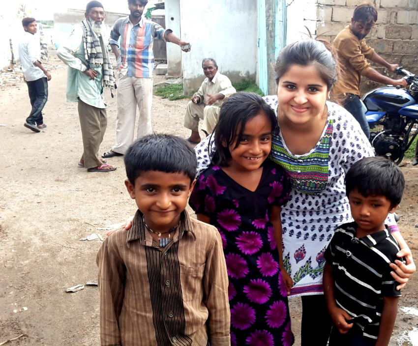 Gulping a breath of fresh air, with the children in Kandla