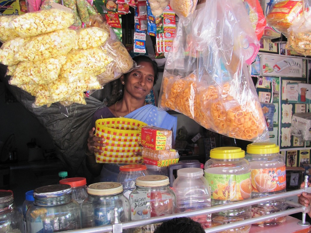 Sumathi runs her own 'petty store' and makes wire bags to boost her income