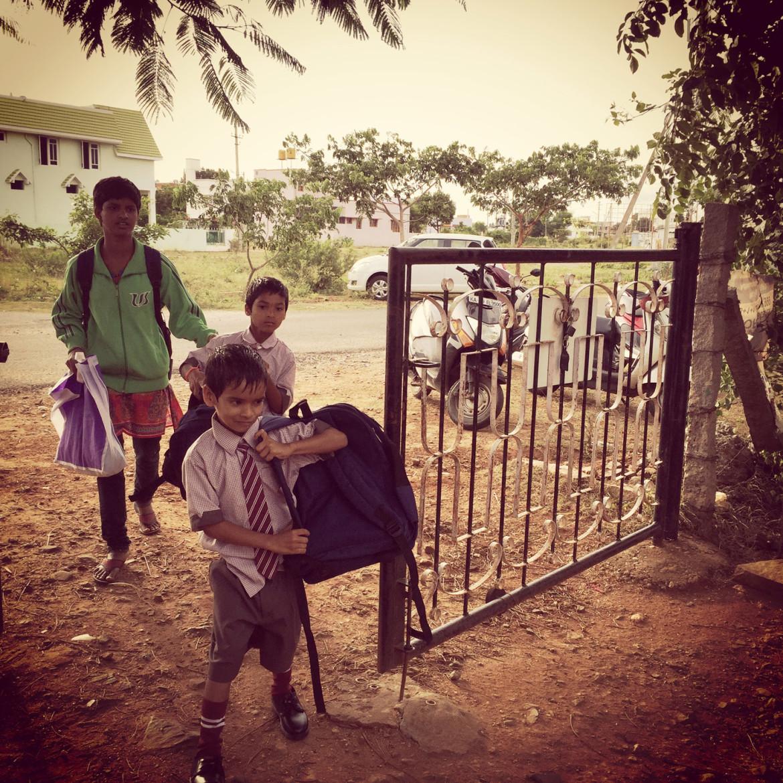 Bharath, Lakshman, and Manjula returning from school