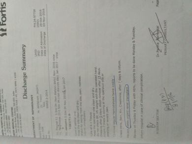 Discharge Summary stating patient requires urgent renal transplant