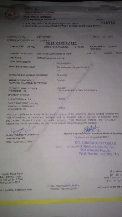 medical and cost  certificate issued by hospital