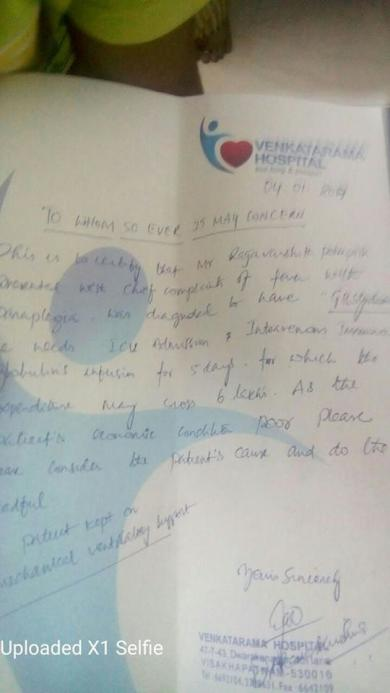 14 years old boy Mr. P.varshith is suffering from very critical health