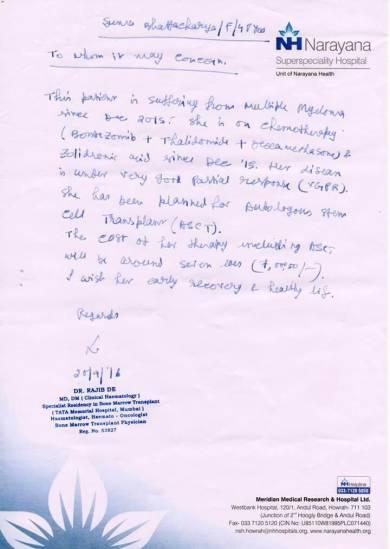 Cost estimation letter/doctor's letter