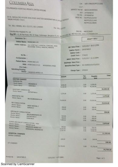 Medical Bill as of 15012017