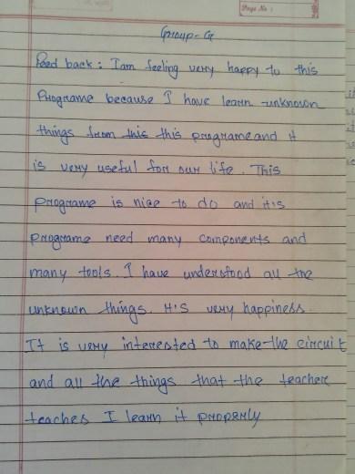 Feeb back by student of Model School Mandia,Assam,India