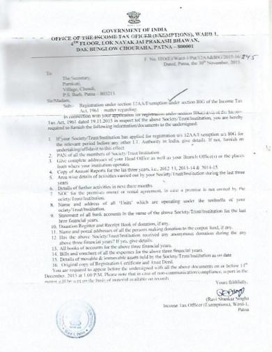 Purnkuti 80G registration