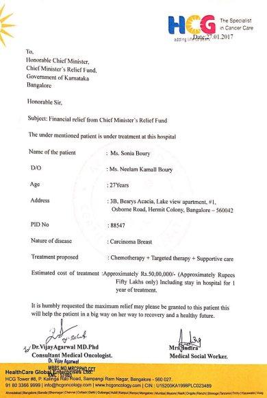 Letter from Dr. Vijay Agarwal, HCG Bangalore