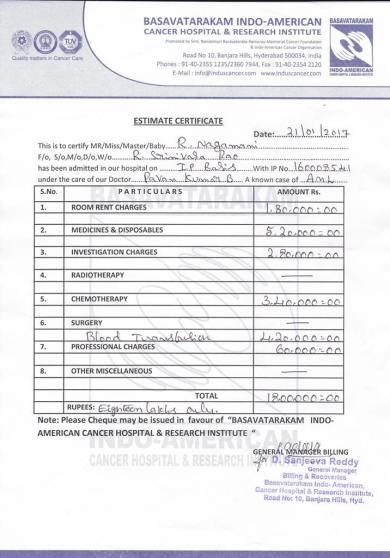 Medical Estimation Letter
