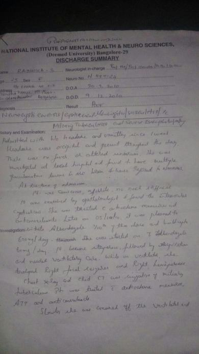 Summary 1st page from Nimhans hospital