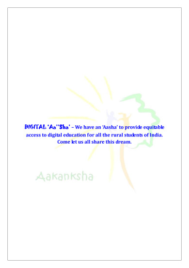 This Project File gives the complete details of 'DIGITAL AASHA'.