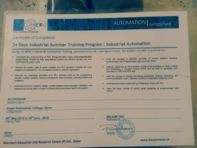 My training degree of diploma electronic