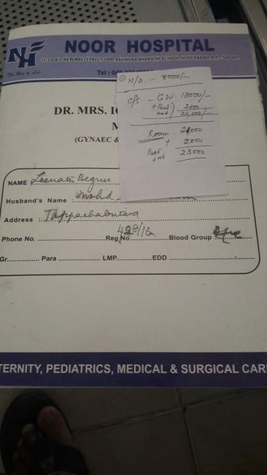 Hospitalization and C-section charges