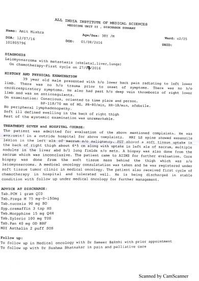 AIIMS Discharge summary