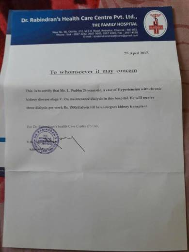 Doctor certificate for dialysis