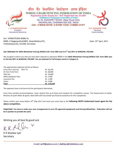 IWAS WHEELCHAIR FENCING WORLD CUP SELECTION LETTER