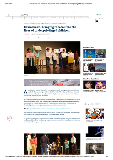 Dramebaaz feature on Catch News