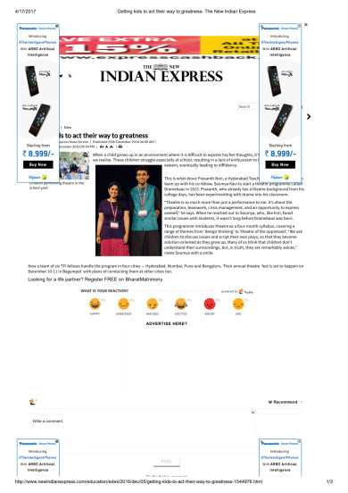 Dramebaaz feature on The New Indian Express