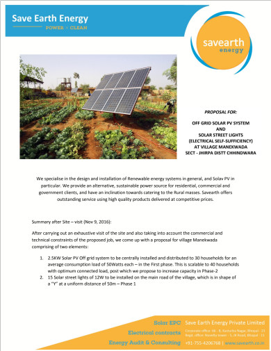 Plan For Manakwada Solar Electrification