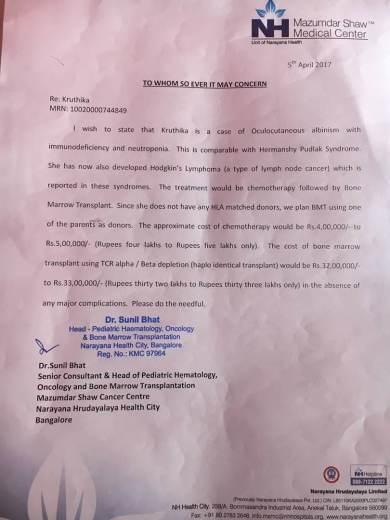 Estimation letter of baby Kruthika