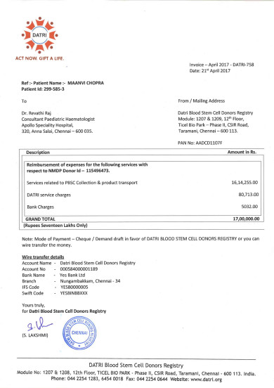 Donor's cell Bill